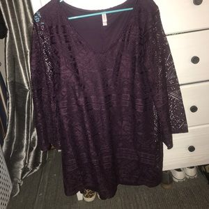 Plum Purple Lace Dress with Bell Sleeves